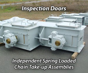 CDM Systems Conveyor Inspection Doors and Independent Spring Loaded Chain Take-up Assemblies